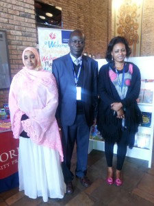 From left to right -Habiba Mohamed Shuria, Peter Ombwogor, and Salyne Nyongesa at the Pan-African Reading For All Conference 2015